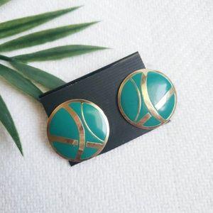 80s Geometric Circle Earings Turquoise & Gold